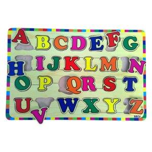 Puzzle Abjad Besar Kayu Seru - Balok Kayu Natural, Produktifitas, Aktifitas dan Kreatifitas Anak