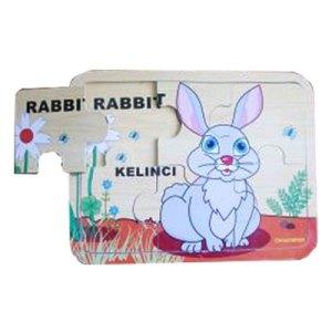 puzzle kelinci - Souvenir Koin Kayu Untuk Hiasan isi Kotak Hadiah