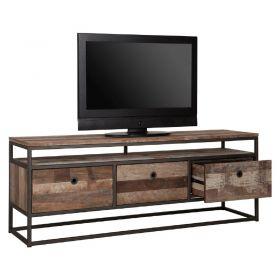 meuble tv 3 tiroirs bois recycle metal