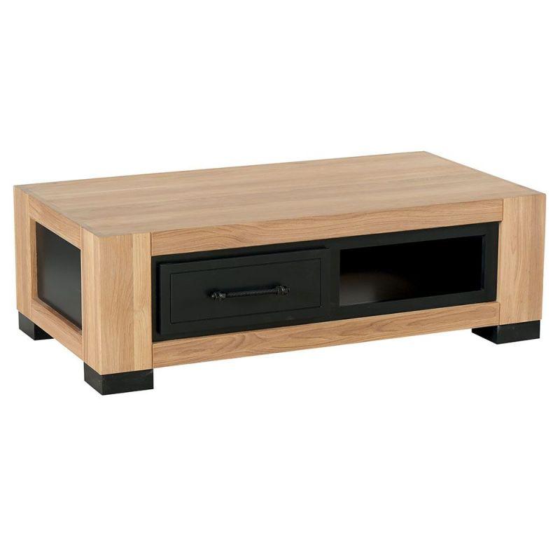 table basse chene 120cm 2 tiroirs cleveland casita cletaba2tir