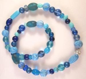 blue polymer clay marbled beads