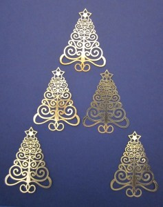 Laser-cut Christmas tree card topper