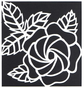 rose on white paper