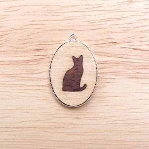 marquetry cat silhouette pendant