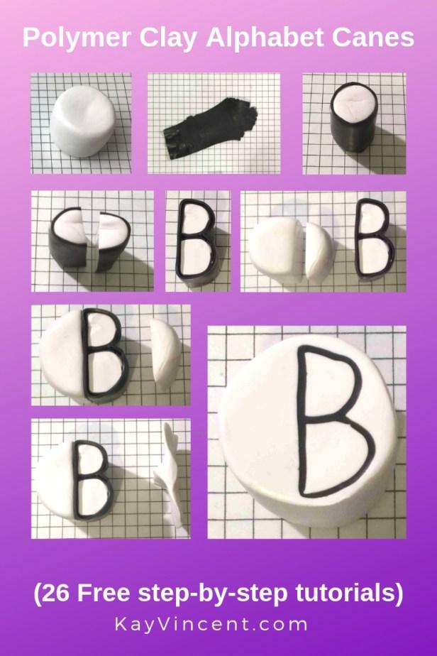 Letter B polymer clay alphabet cane tutorial 20190305