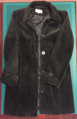 second hand coat with standard buttons, ready to hack with polymer clay buttons