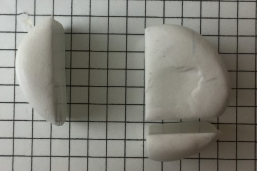 polymer clay cane letter L step 05 - cut bottom off white cylinder
