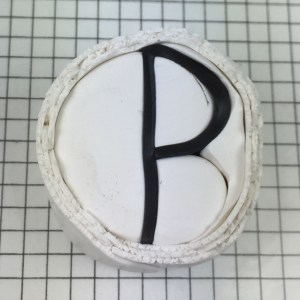 Letter P polymer clay alphabet cane tutorial - wrap with white clay