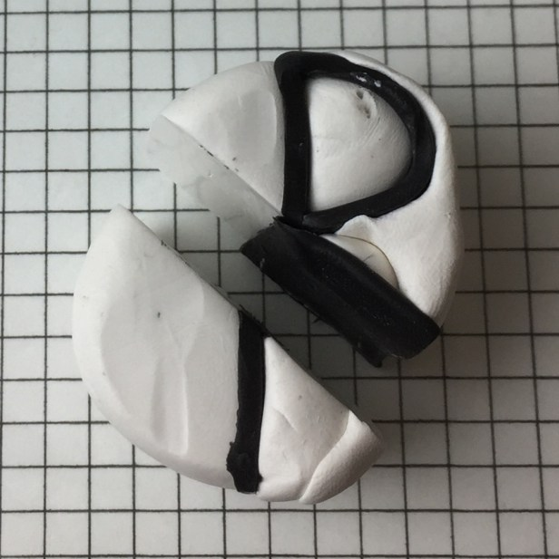 Letter R polymer clay alphabet cane tutorial - insert black clay