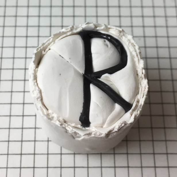 Letter R polymer clay alphabet cane tutorial - wrap with white