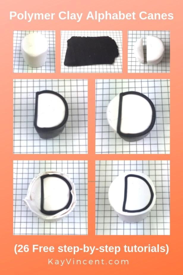 Letter D polymer clay alphabet cane tutorial 20190309