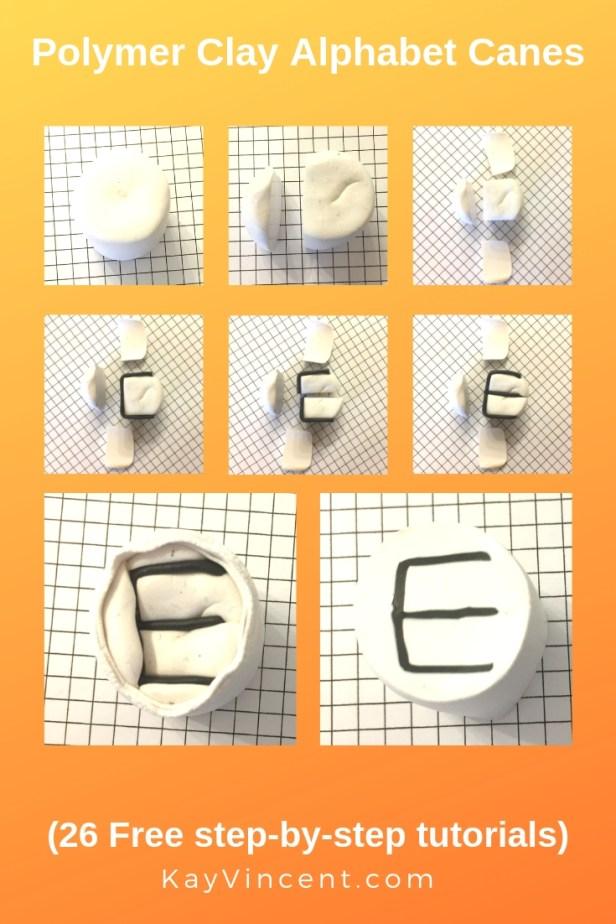 Letter E polymer clay alphabet cane tutorial 20190309