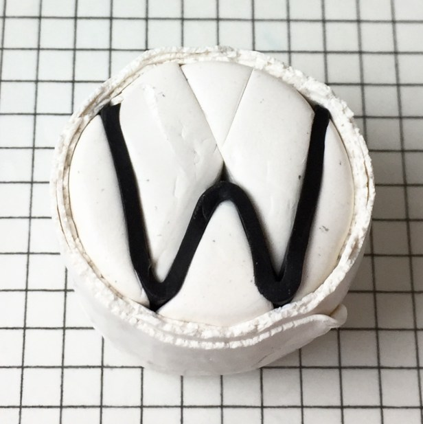 Letter W polymer clay alphabet cane tutorial - wrap in white
