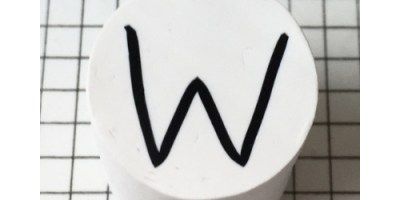 Letter W polymer clay alphabet cane with PolymerKay watermark 20190407