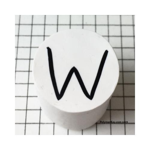 Letter W polymer clay alphabet cane with PolymerKay watermark 20190407