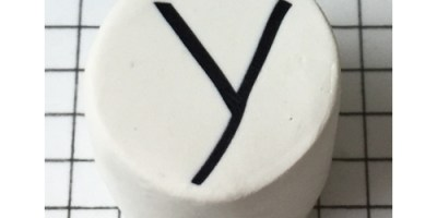 Letter Y polymer clay alphabet cane with PolymerKay watermark 20190407