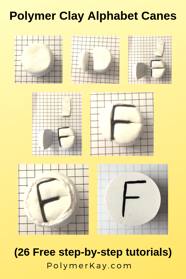 Letter F polymer clay alphabet cane tutorial - KayVincent