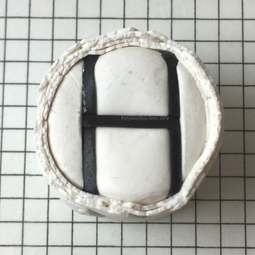Letter H polymer clay cane - penultimate step - KayVincent