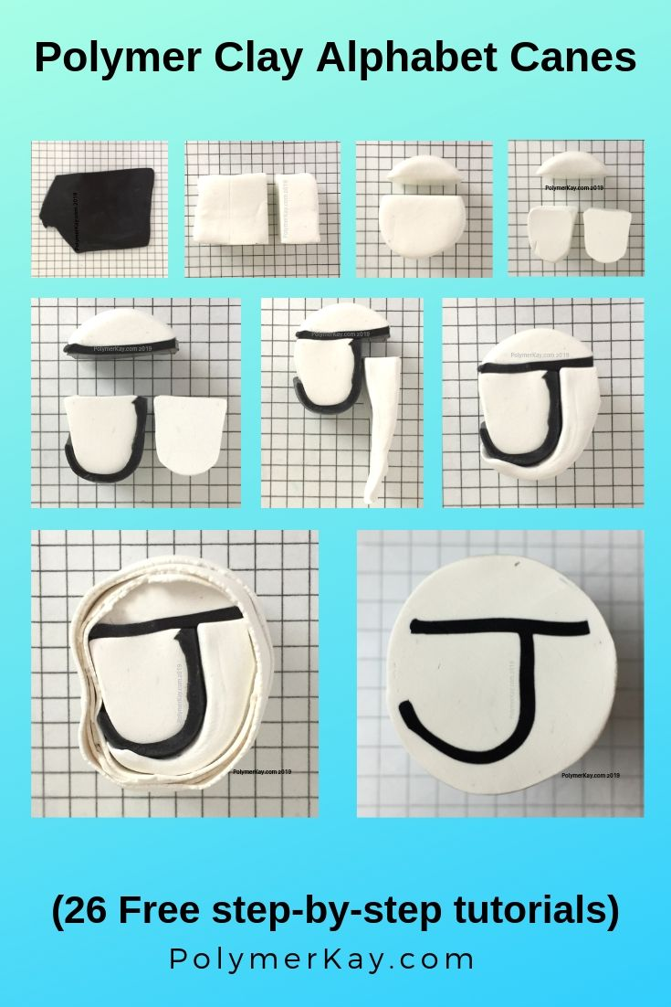 Letter J polymer clay alphabet cane tutorial graphic - KayVincent