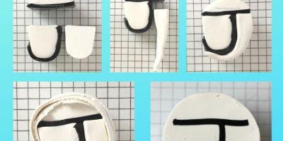 Letter J polymer clay alphabet cane tutorial graphic - KayVincent