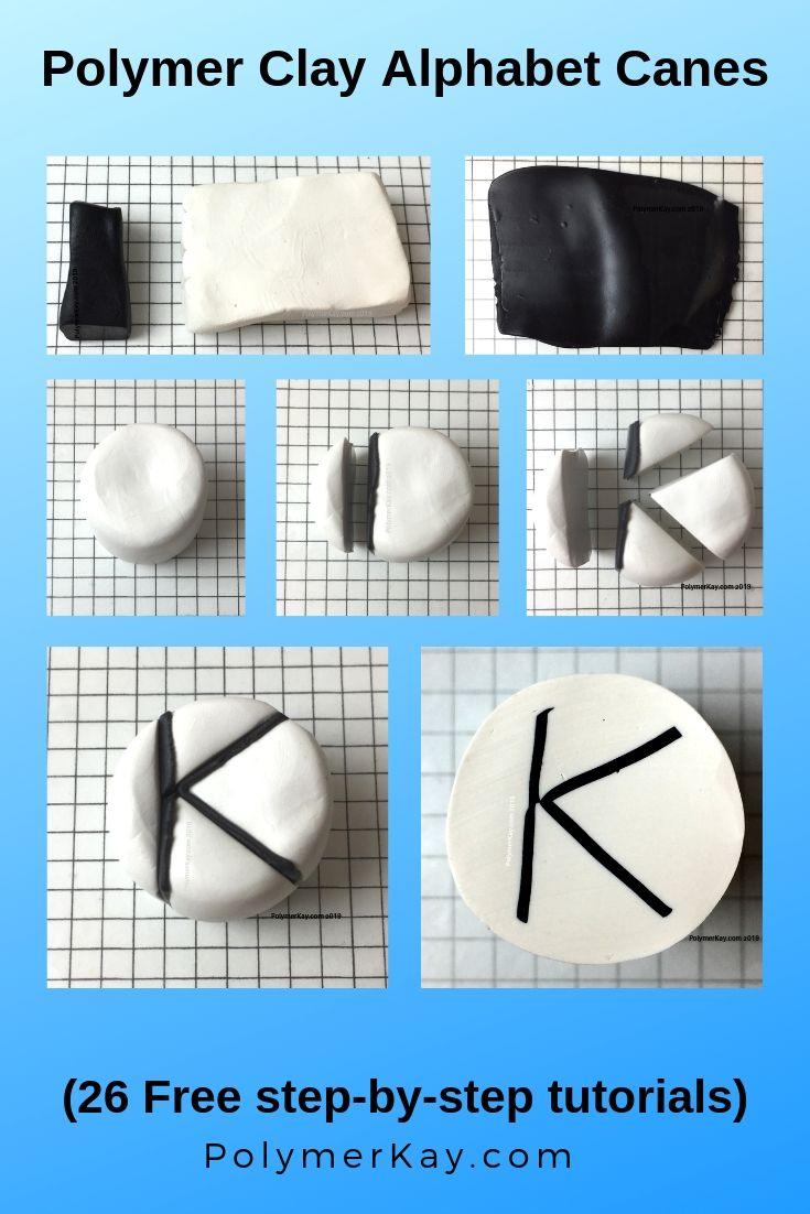Letter K polymer clay alphabet cane tutorial graphic - KayVincent