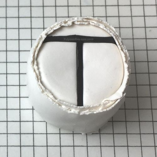 Letter T polymer clay cane - penultimate step - KayVincent