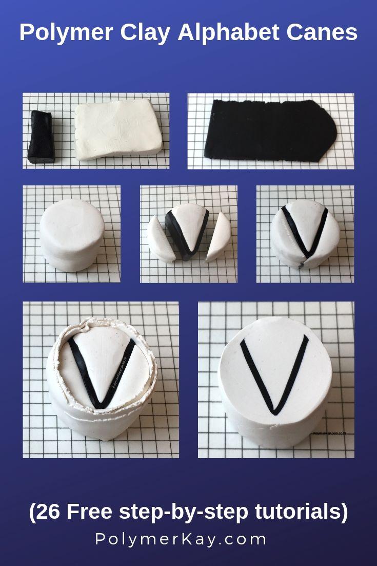 Letter V polymer clay alphabet cane tutorial graphic - KayVincent