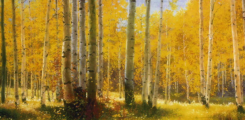 """""""Aspen & Sunshine"""" © Kay Witherspoon, 30"""" x 36"""", oil on Linen (SOLD), canvas giclée prints available"""