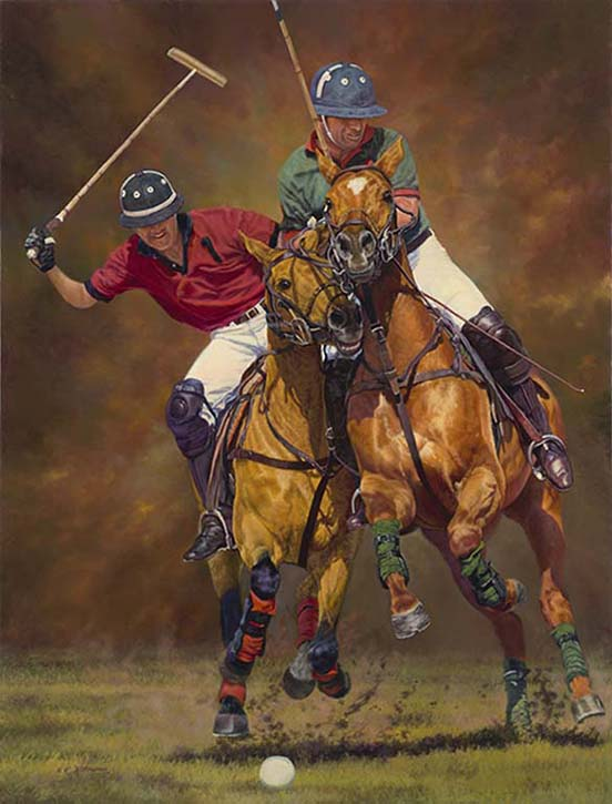 """Clash of the Centaurs"" ©Kay Witherspoon , 42"" x 32"" oil on linen polo painting - Available."