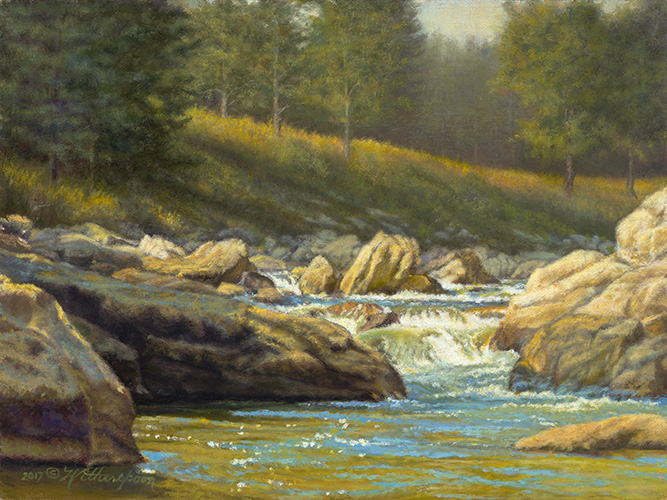 """Sunshine on the Yellowstone River"" ©Kay Witherspoon, 11"" x 14"" oil on linen covered hardboard, available"