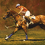 """Focused"" © a 12"" x 20"" polo oil painting (SOLD) by Kay Witherspoon awarded the Founder's Award in oils & acrylics by the American Academy of Equine Art and available as a canvas giclée print."