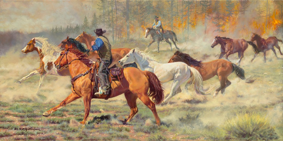 """""""Race Against Time"""" © by K Witherspoon, 14"""" x 28"""", oil on linen, is available through Trailside Galleries, Jackson, WY"""