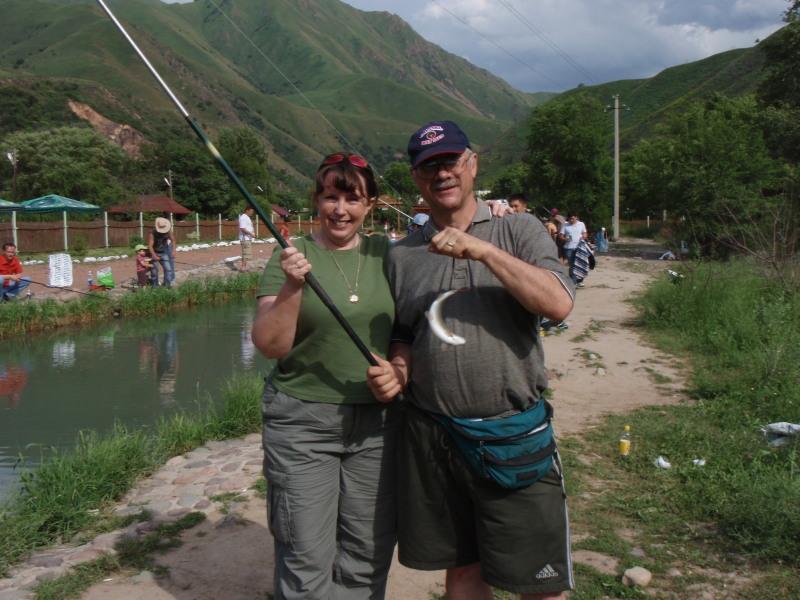 Kris and Ken at Fish farm
