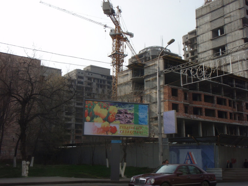 billboard and crane