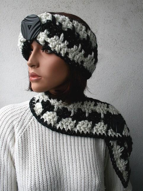 Ensemble bandeau au crochet laine et filaments argentés synthétiques