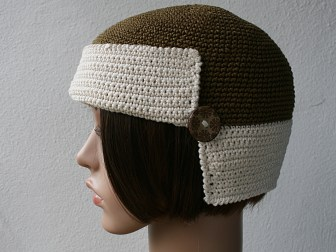 bonnet retro bronze et ecru profil 5
