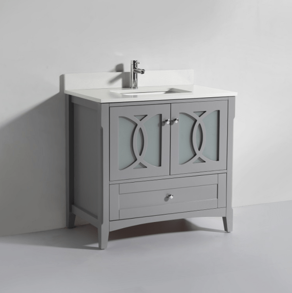 Heartly 30 Inch Cashmere Grey Vanity