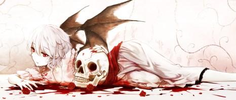 Konachan.com - 188863 blood cloudy.r flowers purple_hair red_eyes remilia_scarlet rose short_hair skull touhou wings