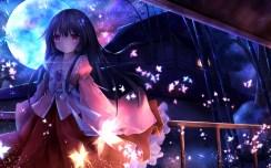 Konachan.com - 189578 black_hair building fromage_tart houraisan_kaguya japanese_clothes long_hair moon night petals pink_eyes touhou