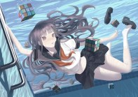 Konachan.com - 182470 bubbles long_hair navel original purple_eyes purple_hair seifuku skirt socks throtem underwater water
