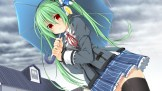 Konachan.com - 182817 blush dodome-iro_mayonnaise green_hair headphones original rain red_eyes twintails umbrella water zettai_ryouiki
