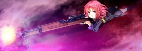 Konachan.com - 183153 game_cg gun g_yuusuke light pink_eyes pink_hair short_hair sousyu_sensinkan-gakuen_hachimyoujin tatsunobe_ayumi weapon