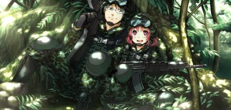 Konachan.com - 183188 game_cg glasses g_yuusuke hiiragi_yoshiya light military pink_eyes pink_hair sousyu_sensinkan-gakuen_hachimyoujin tatsunobe_ayumi weapon