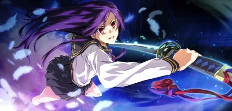 Konachan.com - 183194 feathers game_cg g_yuusuke katana light long_hair purple_hair red_eyes seifuku sera_mizuki sousyu_sensinkan-gakuen_hachimyoujin sword weapon