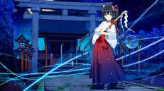 Konachan.com - 189057 black_hair blue_eyes japanese_clothes kirino_kasumu leaves long_hair miko moon night ribbons stars suishou_shizuku torii watermark