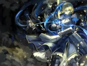 Konachan.com - 190748 armor blonde_hair bubbles dress fate_stay_night fate_zero green_eyes saber saberiii short_hair sword weapon