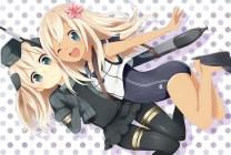 Konachan.com - 196200 2girls blonde_hair dark_skin hat kantai_collection long_hair pantyhose rinchu school_swimsuit swimsuit tan_lines u-511_(kancolle) wink