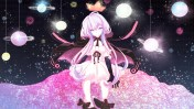 Konachan.com - 200618 elbow_gloves hoodie long_hair planet polychromatic space stars twintails vocaloid yotsuba_(vidaliu00) yuzuki_yukari