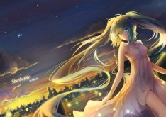 Konachan.com - 200786 aqua_eyes city clouds dress hatsune_miku kuroi_asahi long_hair necklace scenic sky sunset twintails vocaloid wristwear