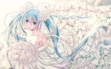 Konachan.com - 202153 blue_eyes blue_hair flowers hatsune_miku long_hair sakamoto_akira twintails vocaloid wedding_attire